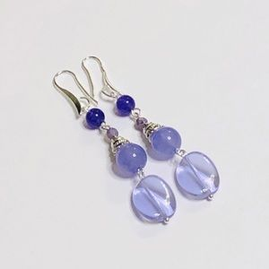 From Dark To Light Purple Agate & Jadeite Earrings